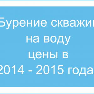 Изменение цен на бурение скважин на воду в 2014 – 2015 годах